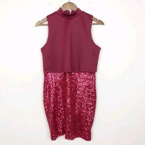 NWT ASOS Red Sparkle Skirt Pencil Dress 143